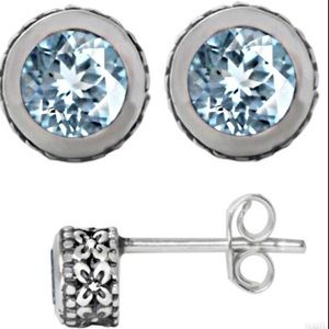 NEW 0.83ct aquamarine 14k/rhodium/.925 ss Earrings